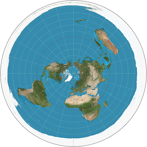The north pole is at the centre of the circle, the equator is the circle at middle distance from the centre, and the entire outside edge is the south pole. Source: Wikipedia | Azimuthal equidistant projection